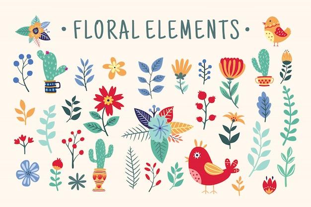 Beau ensemble d'éléments floraux