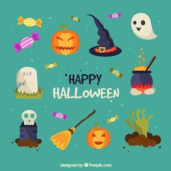 Beau ensemble d'éléments d'halloween