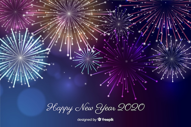 Beau feu d'artifice pour une bonne année 2020
