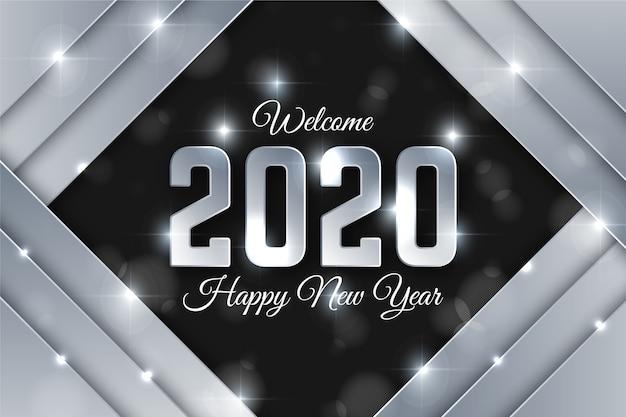 Beau fond argenté nouvel an 2020