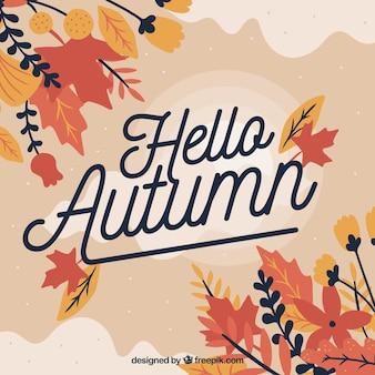 Beau fond automne bonjour avec un design plat
