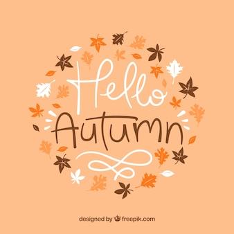 Beau fond d'automne bonjour dessiné à la main