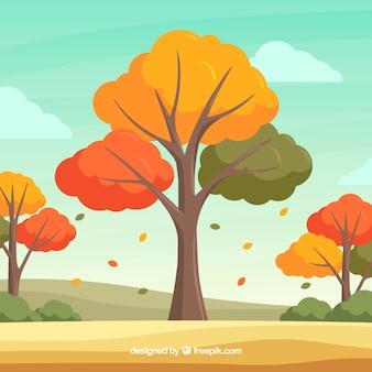 Beau fond automne avec un design plat