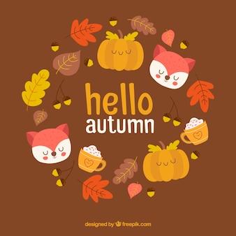 Beau fond automne dessinés à la main