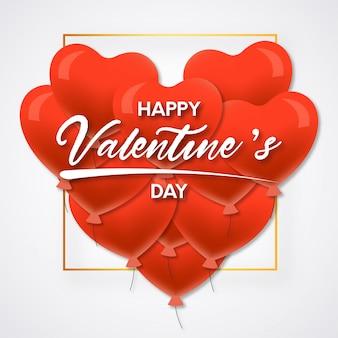 Beau fond avec des ballons coeur pour la saint valentin