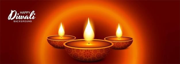 Beau fond de bannière de célébration de lampe à huile diwali diya
