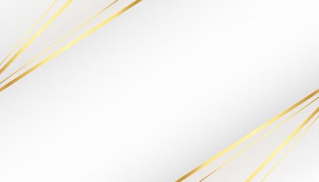 Beau fond blanc avec des formes de lignes dorées