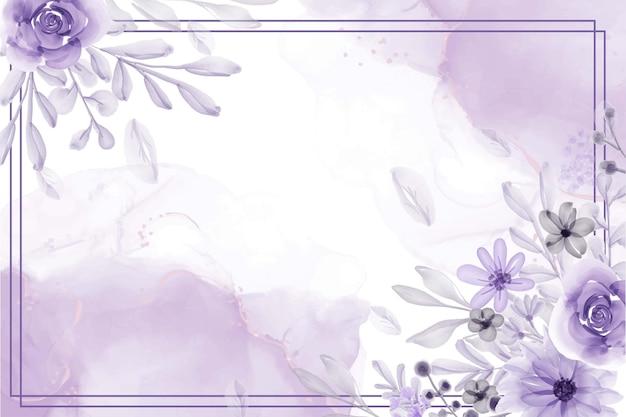 Beau fond de cadre floral avec des fleurs violettes douces