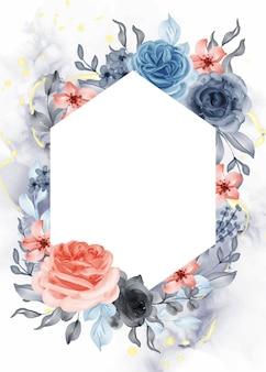 Beau fond de cadre orange bleu rose avec hexagone de l'espace blanc