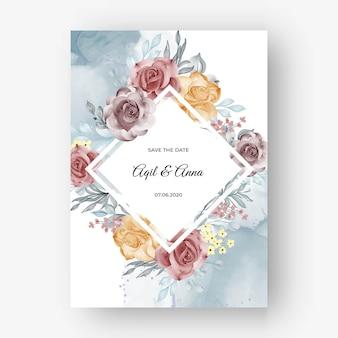 Beau fond de cadre rose pour invitation de mariage avec automne pastel doux