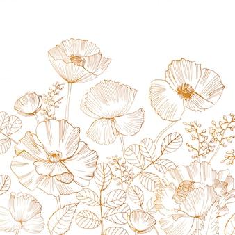 Beau fond carré avec des fleurs de pavot en fleurs et des feuilles au bord inférieur dessinés à la main avec des lignes de contour dorées