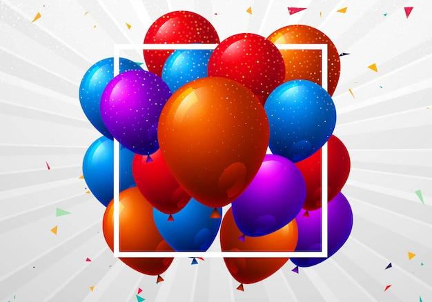 Beau fond de célébration de joyeux anniversaire de ballons colorés volants