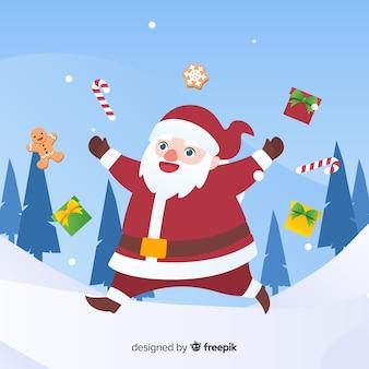 Beau fond de Noël avec un design plat