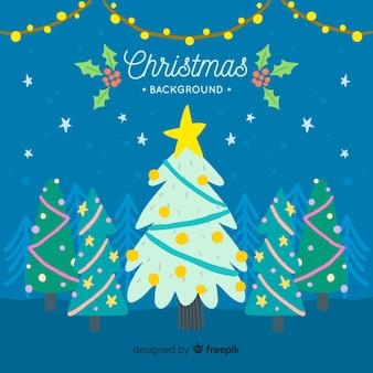 Beau fond de Noël dessiné à la main