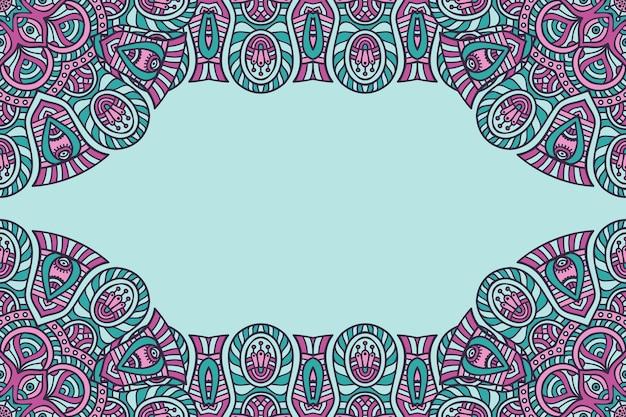Beau fond décoré avec un cadre de mandala coloré