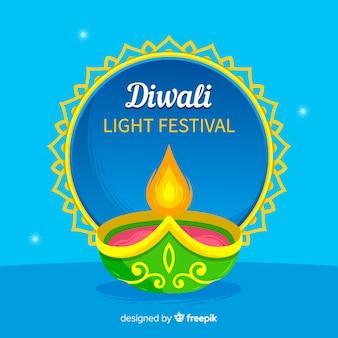 Beau fond de diwali avec un design plat