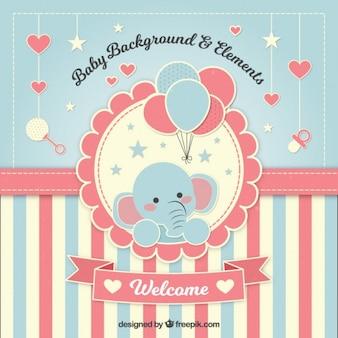 Beau fond de douche de bébé avec un éléphant