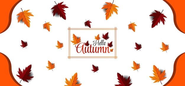 Beau fond d'écriture d'automne avec des feuilles lumineuses de typographie meilleur vecteur premium