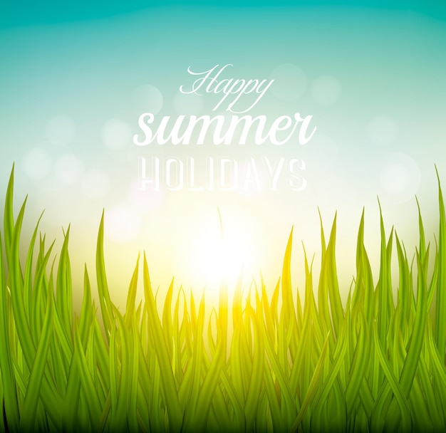 Beau fond d'été avec de l'herbe et du soleil. vecteur.