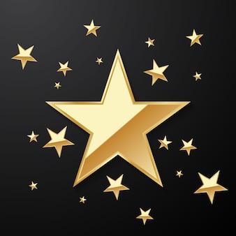 Beau fond d'étoile d'or arrangé pour décorer diverses célébrations
