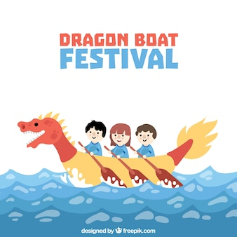 Beau fond de festival de bateau de dragon