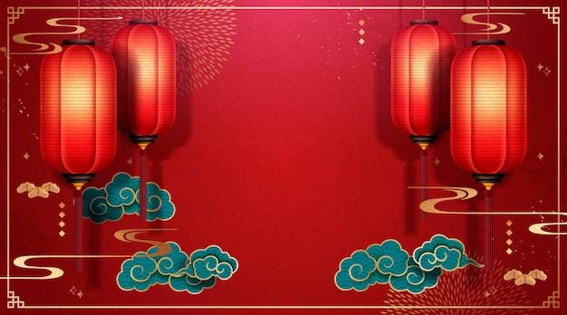Beau fond de festival de printemps chinois avec des lanternes rouges et des nuages turquoise