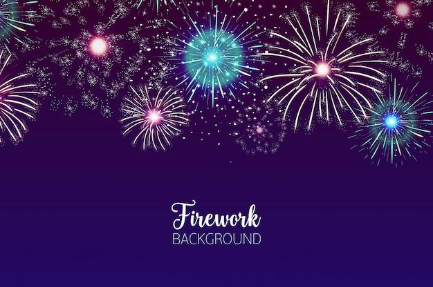 Beau fond avec des feux d'artifice spectaculaires éclatant dans le ciel nocturne sombre. toile de fond avec des lumières clignotantes colorées festives. célébration des fêtes, spectacle pyrotechnique. illustration vectorielle.