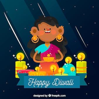 Beau fond de fillette célébrant diwali avec des bougies