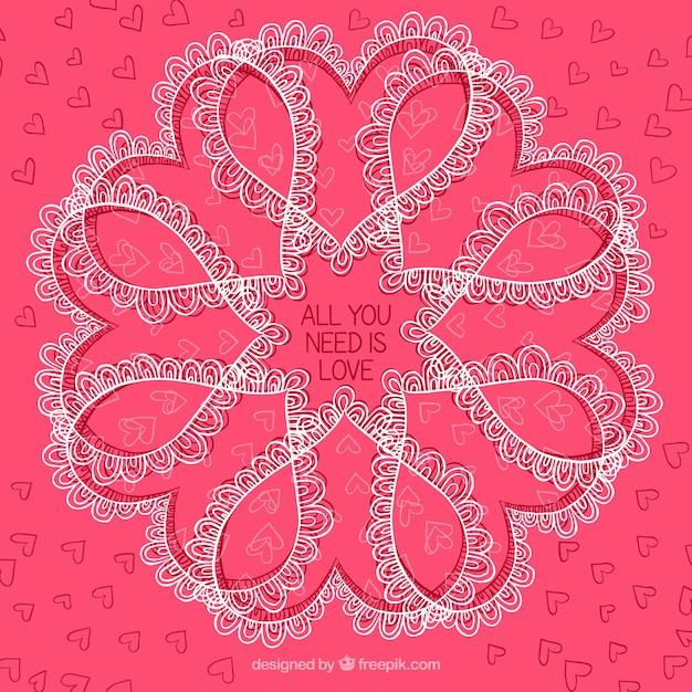 Beau fond de fleur faite avec des coeurs