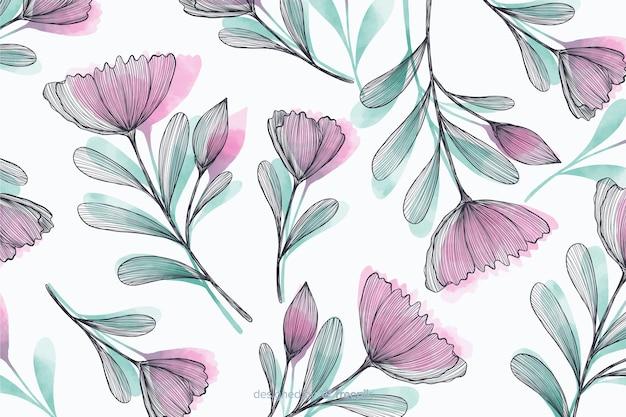 Beau fond avec des fleurs dessinées à la main