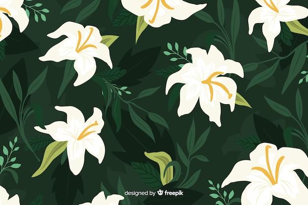 Beau fond floral au design plat