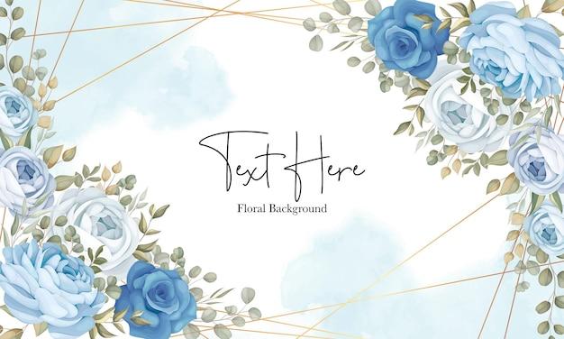 Beau fond floral avec décoration de pivoines bleues dessinées à la main