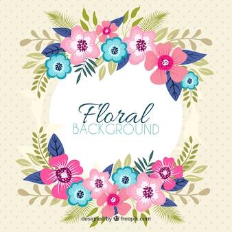 Beau fond floral avec un design plat