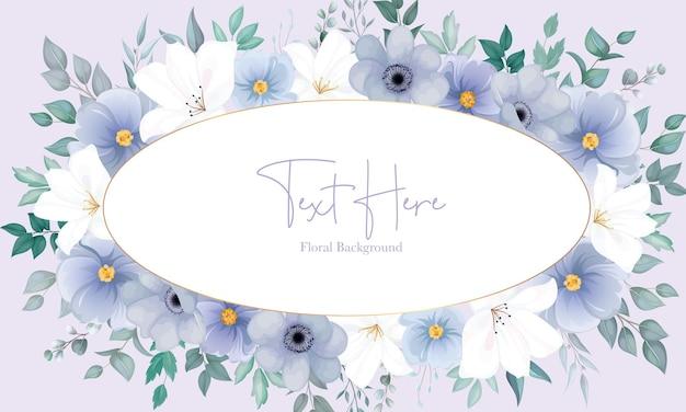 Beau fond floral avec une élégante fleur bleu marine et blanche