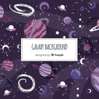 Beau fond de galaxie dessiné à la main