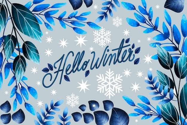 Beau fond d'hiver aquarelle avec lettrage