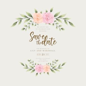 Beau fond d'invitation de mariage avec des fleurs dorées à la main