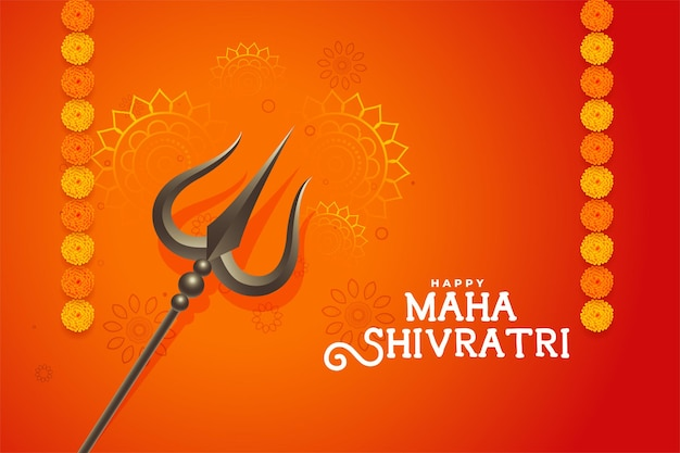 Beau fond orange traditionnel maha shivratri