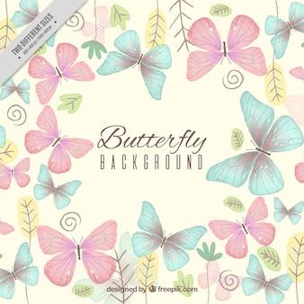 Beau fond avec les papillons et les plantes