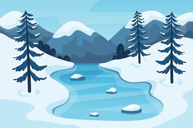 Beau fond de paysage d'hiver