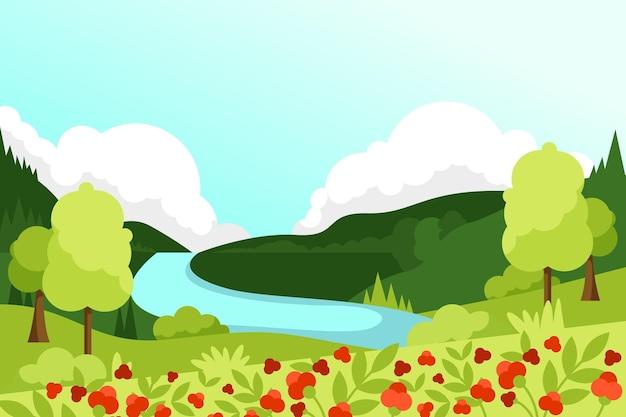 Beau fond de paysage de printemps