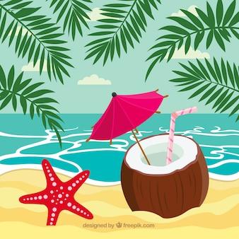 Beau fond de plage tropicale