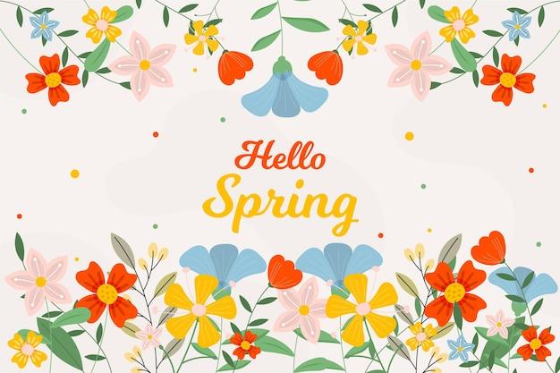 Beau fond de printemps plat avec des fleurs
