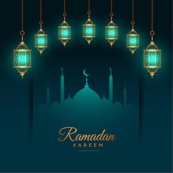 Beau fond de ramadan kareem avec des lanternes islamiques brillantes