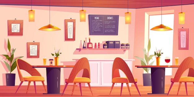 Beau fond de restaurant illustré