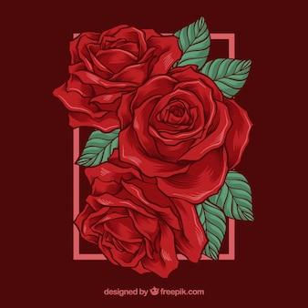 Beau fond avec des roses rouges