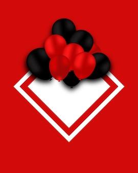 Beau fond rouge de vecteur avec des ballons rouges et noirs et un cadre blanc espace pour votre texte
