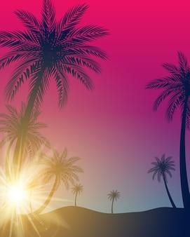 Beau fond de silhouette de feuille de palmier