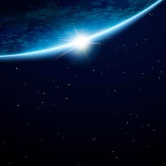 Beau fond de terre de l'espace avec espace de copie et étoiles en illustration 3d