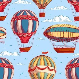 Beau fond transparent coloré rétro avec des ballons et des dirigeables volant vers un ciel nuageux